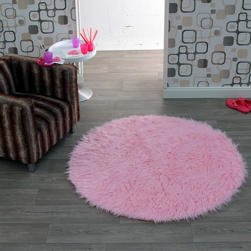 hochflor kunstfell teppich cosy rund in rosa 102214 ebay. Black Bedroom Furniture Sets. Home Design Ideas