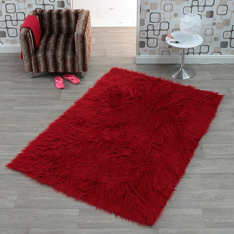 hochflor kunstfell flokati teppich cosy in bordeaux rot 102215 ebay. Black Bedroom Furniture Sets. Home Design Ideas