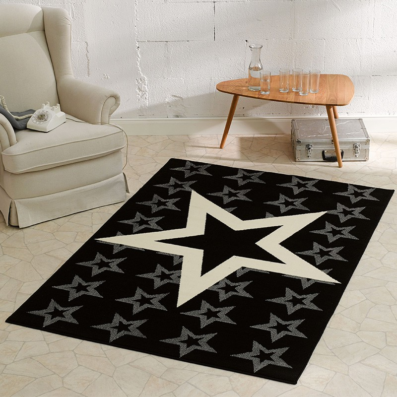 design velours teppich sterne schwarz 140x200 cm 102315 teppiche kurzflor teppiche city line. Black Bedroom Furniture Sets. Home Design Ideas