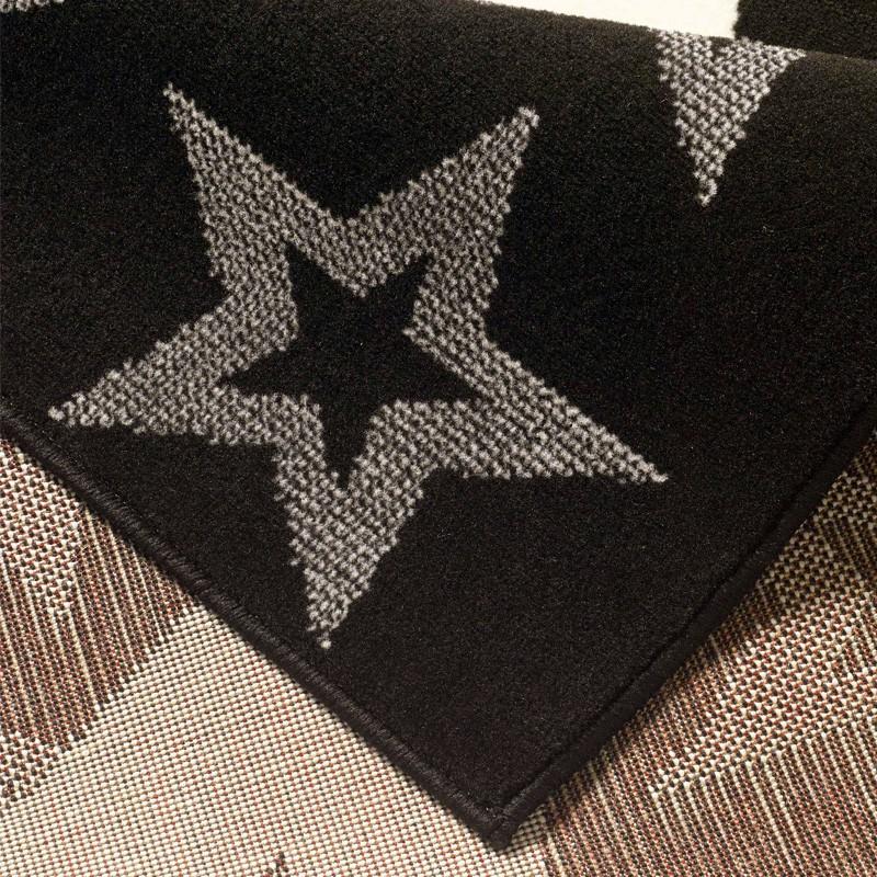 Design Velours Teppich Sterne Schwarz 140×200 cm  102315