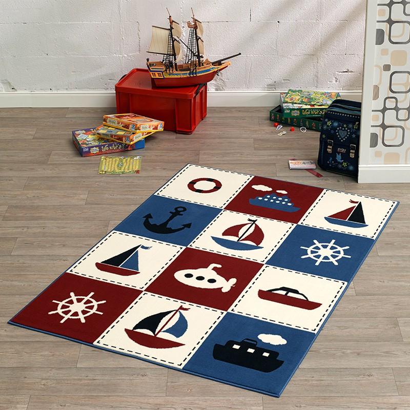 design velours teppich nautic patchwork 140x200 cm 102330 teppiche kurzflor teppiche city line. Black Bedroom Furniture Sets. Home Design Ideas