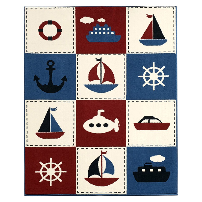 Design Velours Teppich Nautic Patchwork 140×200 cm