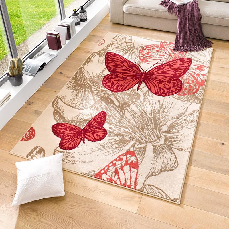 velours design teppich 39 new butterfly 39 kurzflor schmetterling creme violett blau teppiche. Black Bedroom Furniture Sets. Home Design Ideas