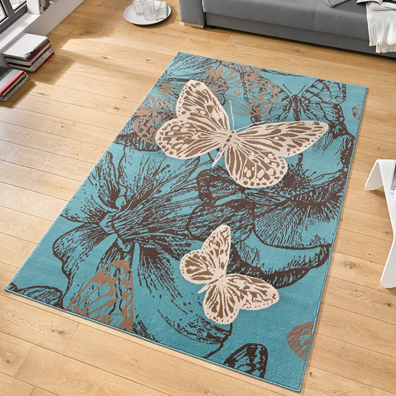 velours design teppich 39 new butterfly 39 kurzflor schmetterling creme violett. Black Bedroom Furniture Sets. Home Design Ideas