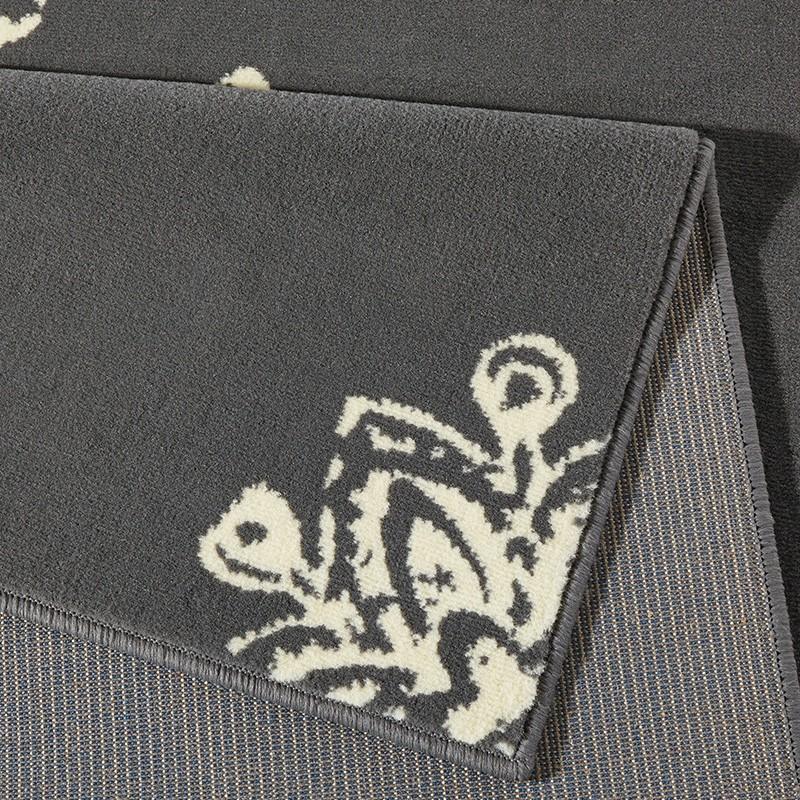 Designer Velours Teppich Blossom Grau Creme  102429
