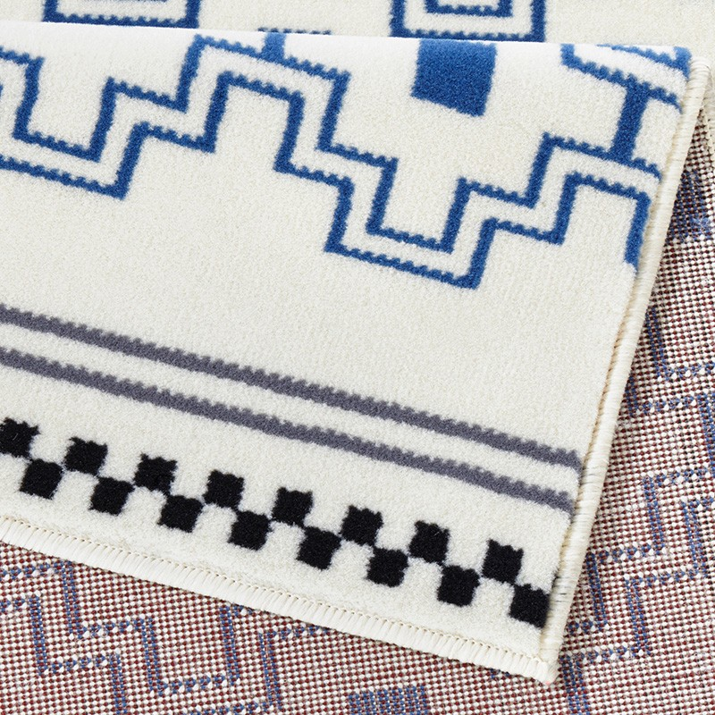 Designer Velours Teppich Cubic Jeansblau Creme Teppiche
