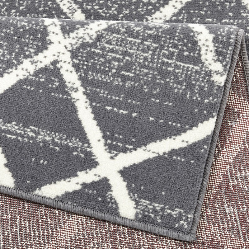 Designer Velours Teppich Rhombe Grau Creme Teppiche
