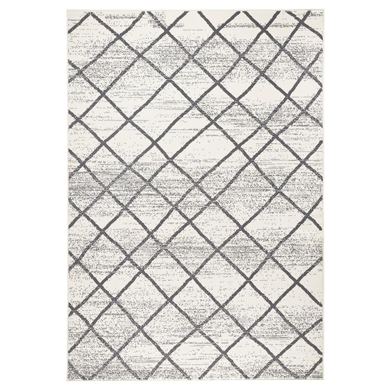 Designer Velours Teppich Rhombe Creme Grau Teppiche