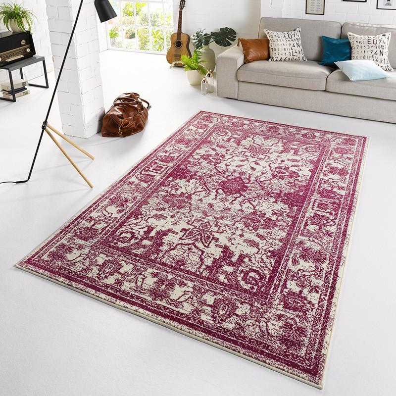designer velours teppich glorious violett creme teppiche kurzflor teppiche capri line. Black Bedroom Furniture Sets. Home Design Ideas