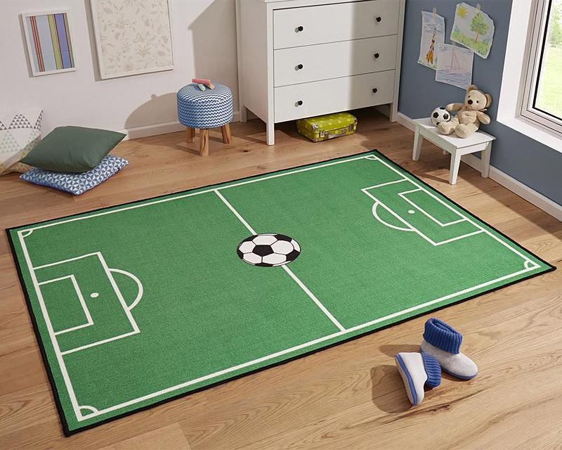 Kinderteppich Fußballteppich Spielteppich Fußballfeld grün