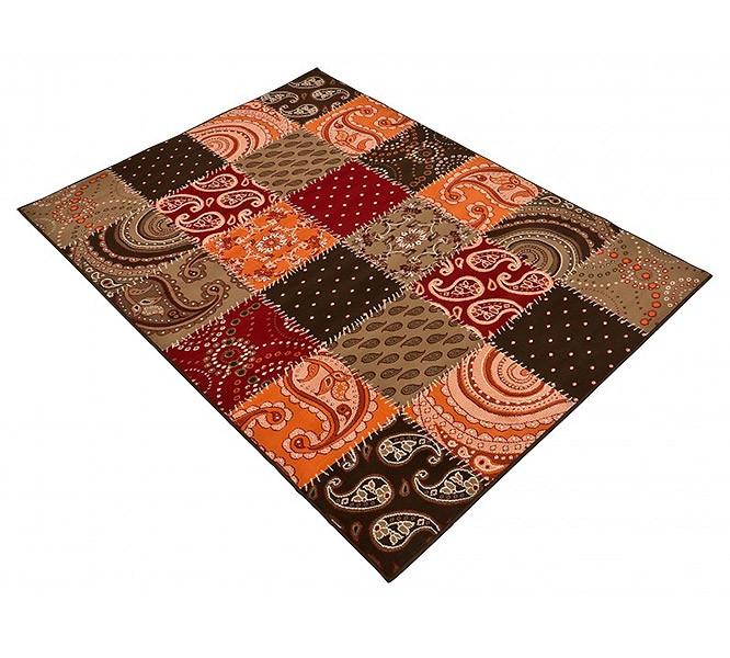 design teppich patchwork rot terra braun ebay. Black Bedroom Furniture Sets. Home Design Ideas