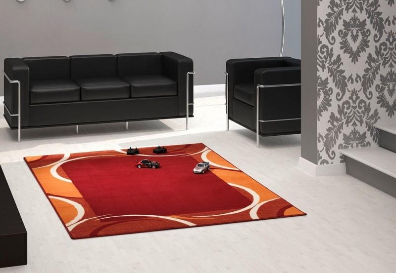 Velours Design Teppich Bordüre Jolie rot  orange Teppiche