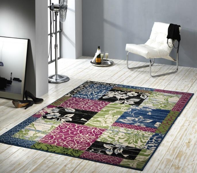 velours design teppich jardin patchwork gr n blau rosa. Black Bedroom Furniture Sets. Home Design Ideas