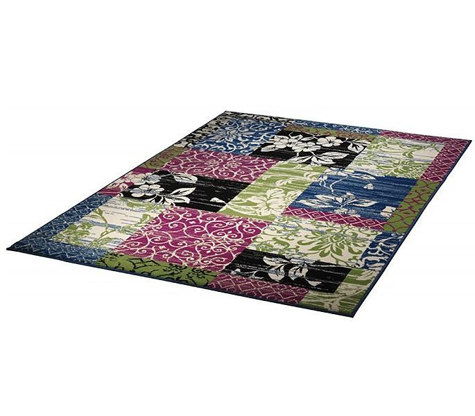 velours design teppich jardin patchwork gr n blau rosa ebay. Black Bedroom Furniture Sets. Home Design Ideas