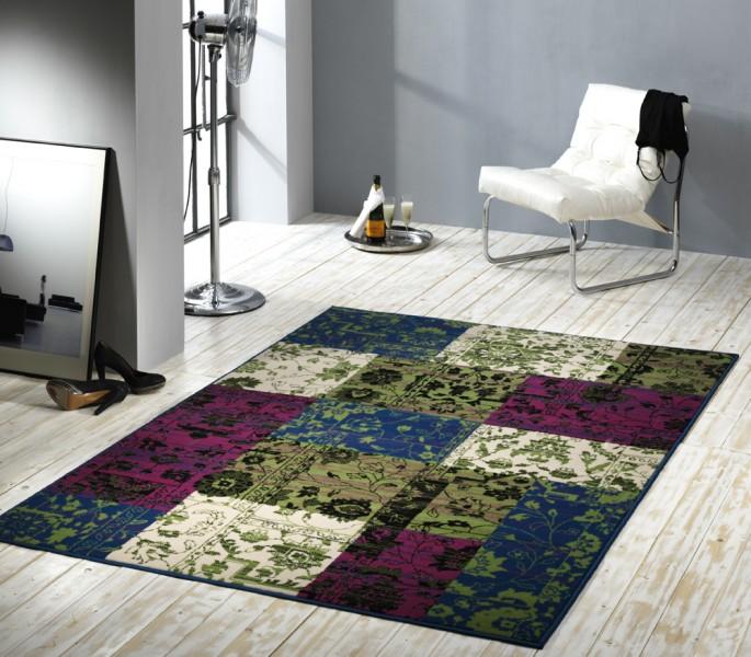 Velours Design Teppich Planta Patchwork grün / lila Teppiche ...