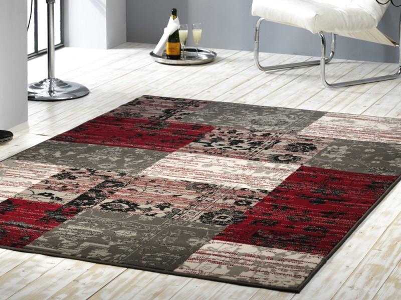 Velours Design Teppich Planta Patchwork rot  grau