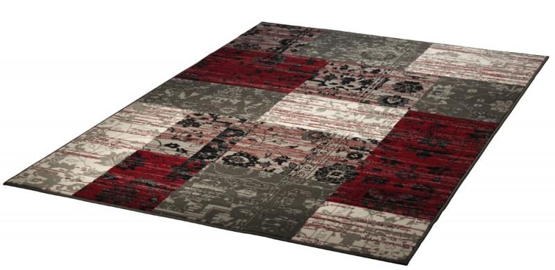 velours design teppich planta patchwork rot grau. Black Bedroom Furniture Sets. Home Design Ideas