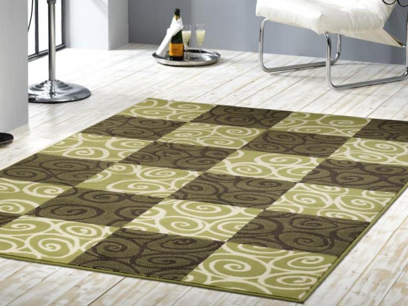 Velours Design Teppich Chess gruen  eBay