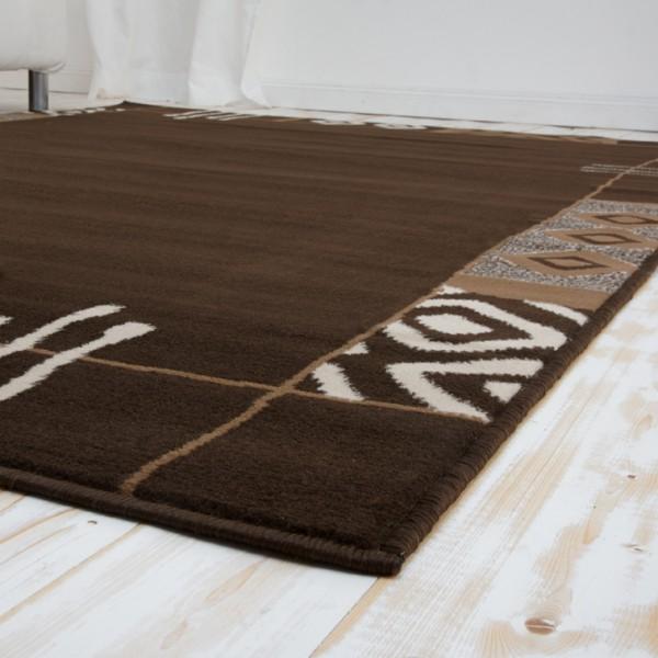 Velours Design Bordüre Teppich Africa braun  eBay