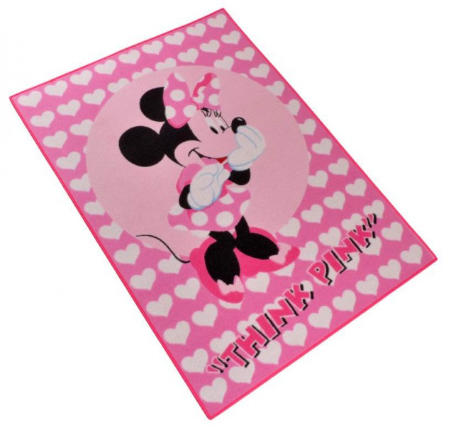 kinder teppich disney minnie mouse think pink 95x133 cm rosa ebay. Black Bedroom Furniture Sets. Home Design Ideas