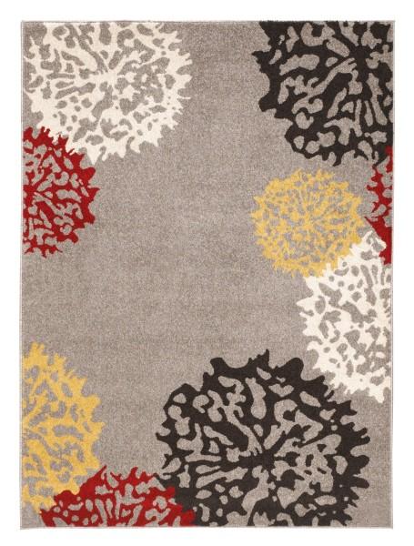 Kurzflor Velours Teppich Dandelion | Grau, Braun, Gelb, Rot, Creme