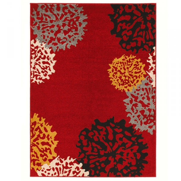 kurzflor velours teppich dandelion rot braun grau gelb. Black Bedroom Furniture Sets. Home Design Ideas