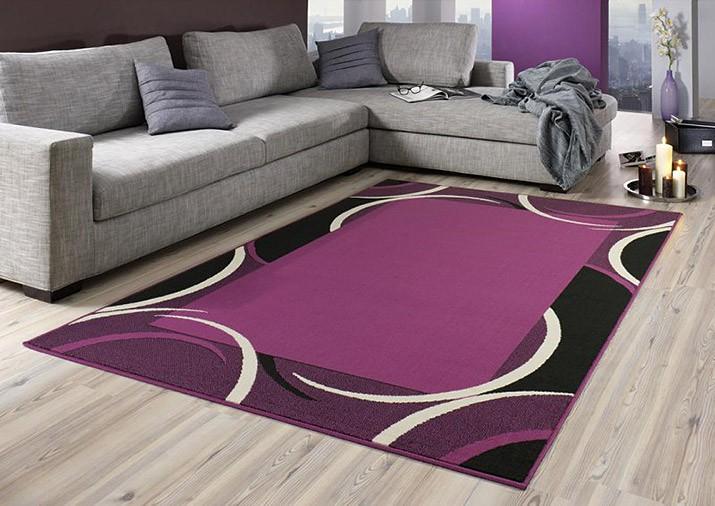 designer teppich jolie kurzflor in gr n oder lila ebay. Black Bedroom Furniture Sets. Home Design Ideas