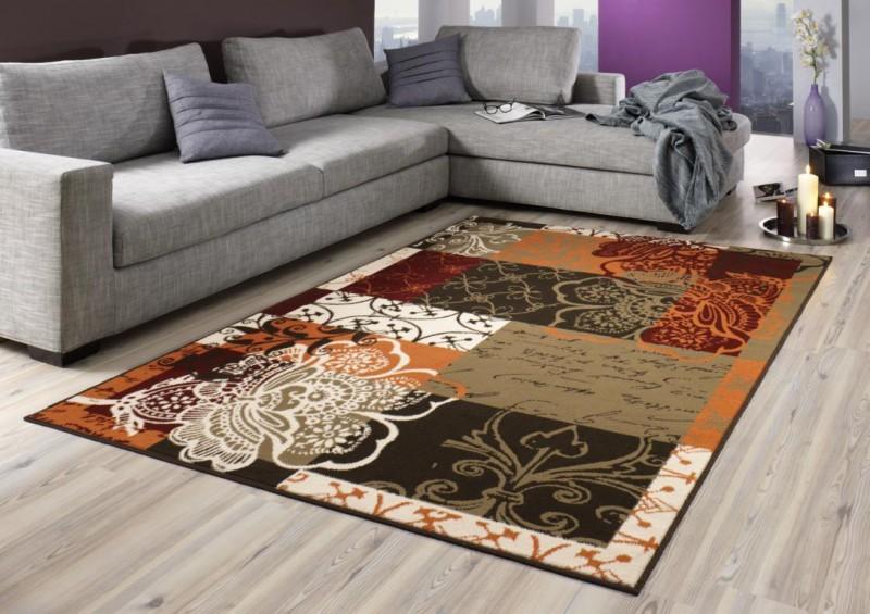 Designer teppich flower patchwork orange rot braun creme