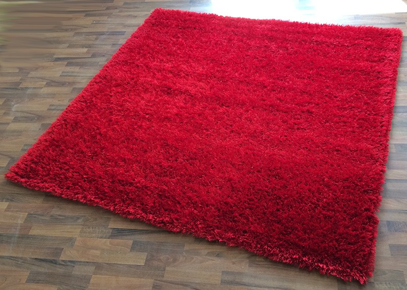 shaggy hochflor langflor teppich quadratisch rot 200x200 cm ebay. Black Bedroom Furniture Sets. Home Design Ideas
