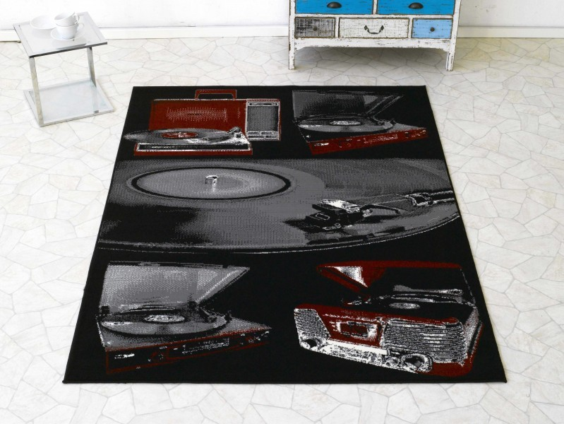 Design Velours Teppich Plattenspieler grau rot 140×200 cm