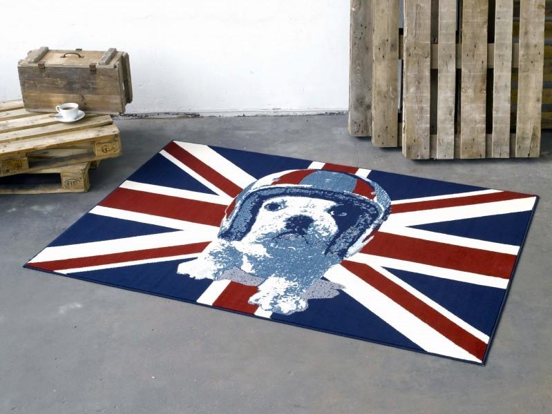 Design velours teppich union jack hund blau rot creme