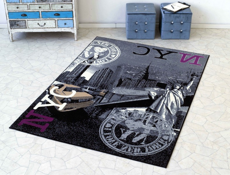 Design Suede Rug I Love NYC Stamp black  grey 140×200 cm