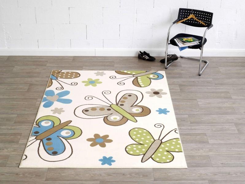 Design Teppich  Butterfly Creme  Kurzflor 140x200cm