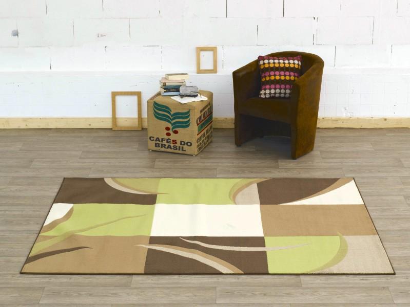 Design Velours Teppich Karo Beige creme braun grün