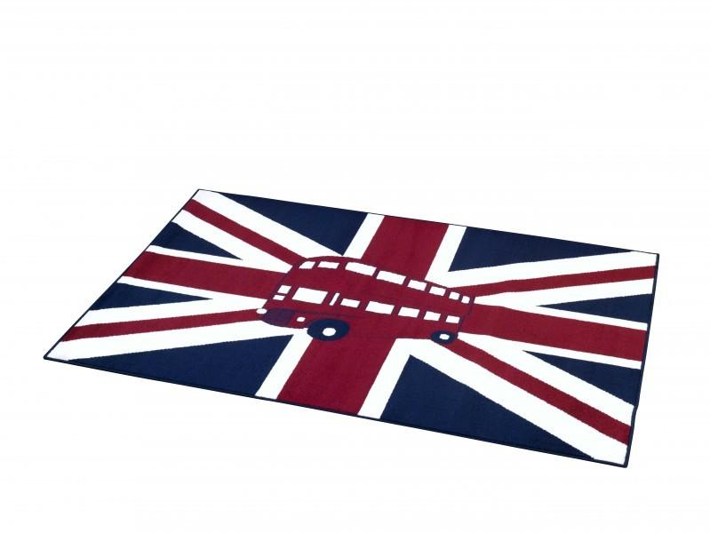 Design Velours Teppich Union Jack Bus rot blau creme