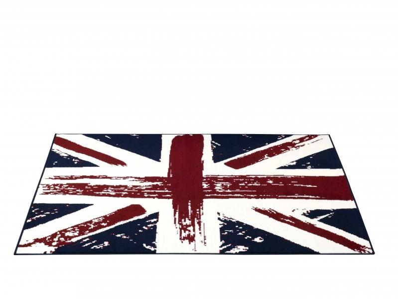 Design Velours Teppich Union Jack Vintage blau rot creme