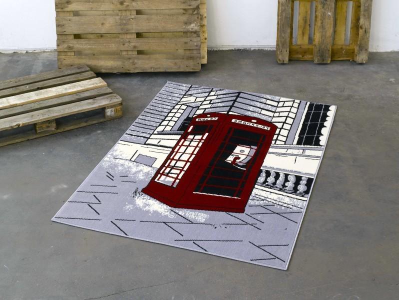 Design Velours Teppich Telefonzelle grau rot 140×200 cm