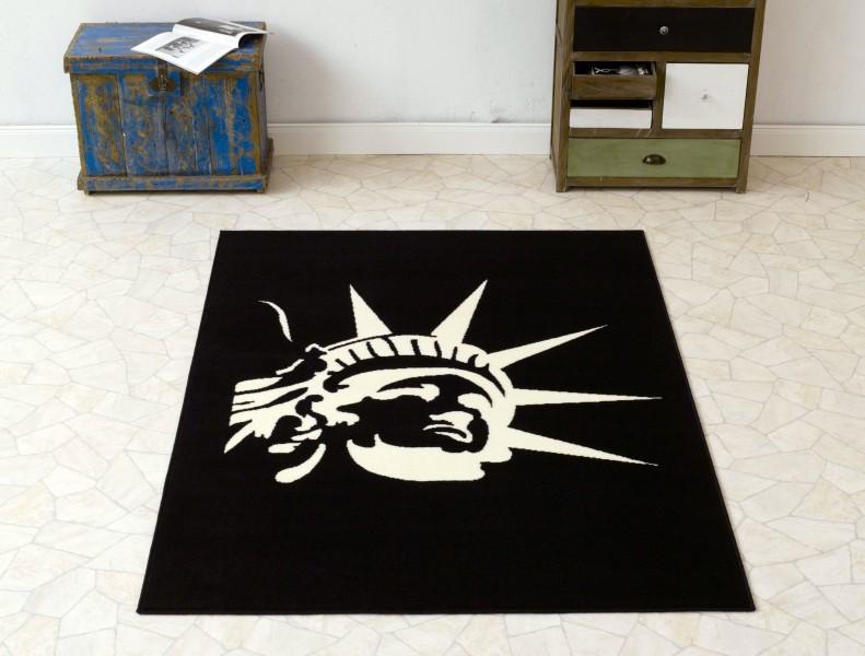 Design Velours Teppich Freiheitsstatue schwarz creme