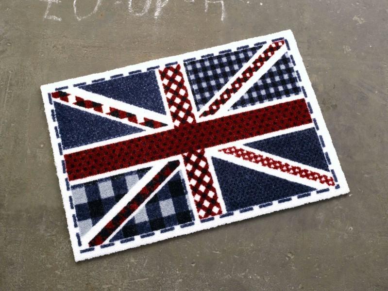 Fußmatte Schmutzfangmatte Union Jack Karo blau rot weiß