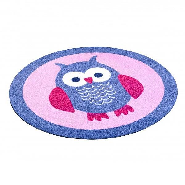velours kinder teppich eule blau rosa rund 100 cm 101941. Black Bedroom Furniture Sets. Home Design Ideas